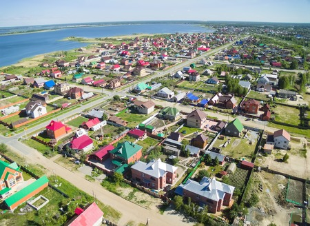 bird s eye view: Bird s eye view onto suburban street in Borovskiy  Tyumen region  Russia