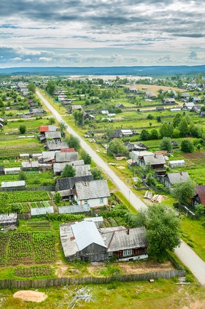 bird s eye view: Bird s eye view onto suburban streets  Leviha  Sverdlovskaya region  Russia