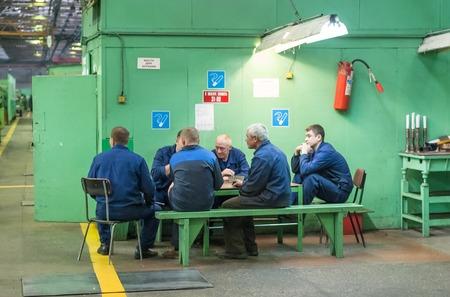 Tyumen, Russia - November 14, 2007  JSC Tyumenskie Motorostroiteli  Production and repair of aviation engines plant   Workers on a break