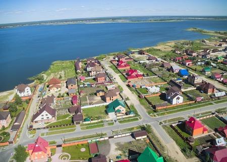 bird s eye view: Bird s eye view onto rural street in Borovskiy village  Tyumen region  Russia