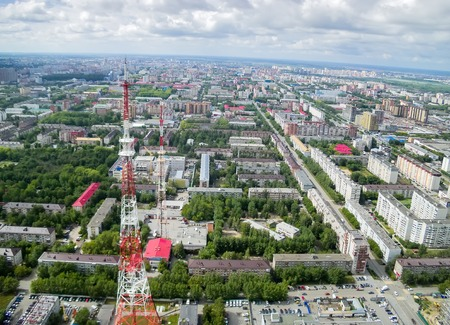 bird s eye view: Bird s eye view on Tyumen city with 2 TV towers at summer, Russia Stock Photo