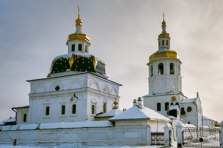 Sacred Znamensky temple and Egypt Saint Maria church  Cvyato-Znamensky Abalak man s monastery  Tobolsk district  Russia photo