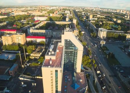 bird s eye view: Office building of Gazprom and main street in Tyumen, Bird s eye view  Russia Stock Photo