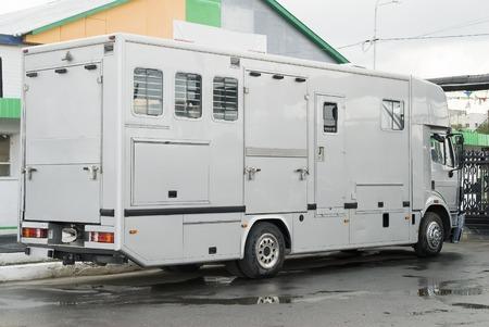 Horse van for animal transportation at hippodrome