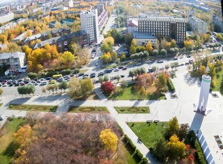 Tyumen, Russia - September 29, 2014: Aerial view on World War II memorial, cardiological center and Melnikayte street