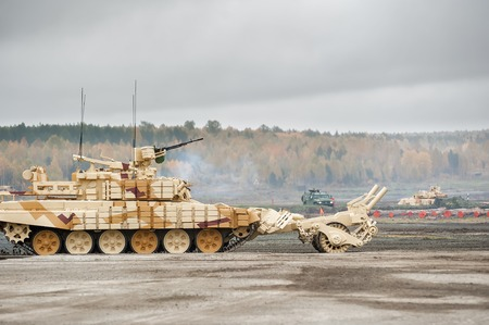 clearer: Nizhniy Tagil, Russia - September 27. 2013: BMR-3M. Armoured deminer to demine pathways for convoy march. RAE-2013 exhibition Editorial
