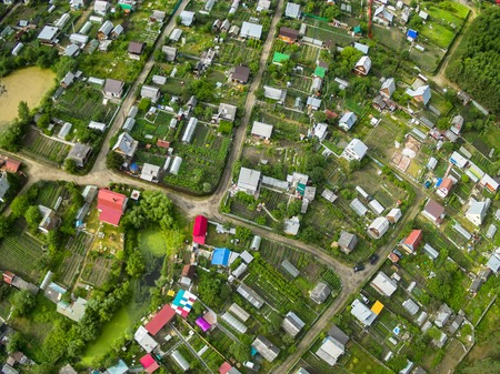 dacha: Aerial view onto dacha cooperative of Tyumen region in spring time Stock Photo