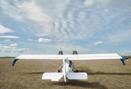 hydroplane: Yalutorovsk, Russia - September 14, 2013: Hydroplane SK-12 Orion on sport airdrome Stock Photo