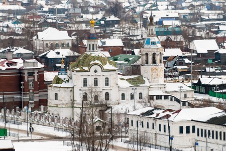 michael the archangel: Tobolsk, Russia - March 5, 2009: View at downtown with Church of Saint Michael  Archangel