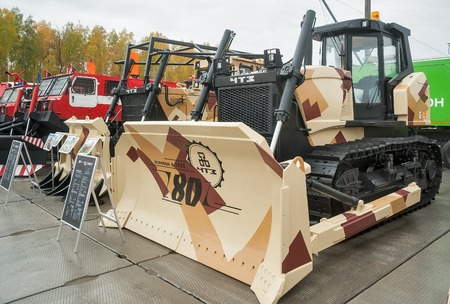 chelyabinsk: Nizhniy Tagil, Russia - September 25. 2013: Bulldozer B11-7000E1N on exhibition range. Chelyabinsk Tractor Plant. RAE-2013 exhibition Editorial