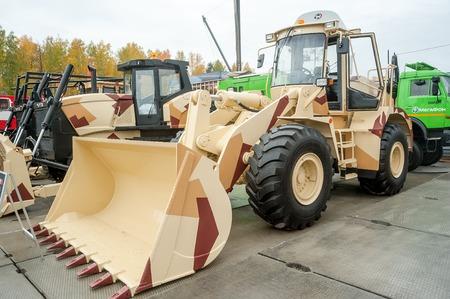 chelyabinsk: Nizhniy Tagil, Russia - September 25. 2013: Bulldozer on exhibition range. Chelyabinsk Tractor Plant. RAE-2013 exhibition Editorial