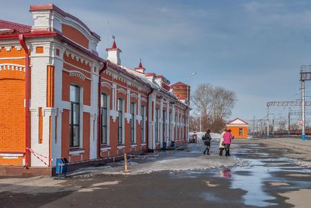 Yalutorovsk, Russia - April 3, 2010: Old railway station