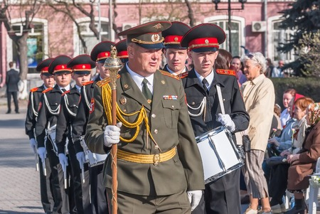 Tyumen, Russia - May 9. 2009: Parade of Victory Day in Tyumen. Military cadet orchestra on Victory Day parade