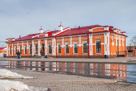 xx century: Yalutorovsk, Russia - April 3, 2010: Building of railway station of XX century beginning