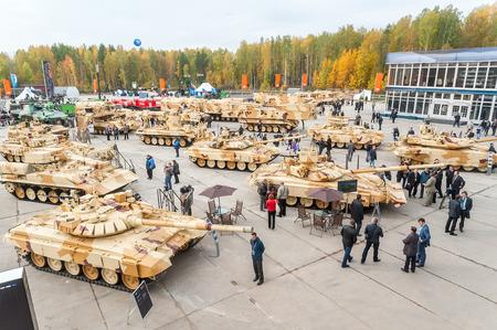 barrel bomb: Nizhniy Tagil, Russia - September 25. 2013: Visitors explore military vehicles on exhibition range. RAE-2013 exhibition.