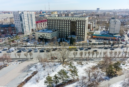 residential tree service: Tyumen, Russia - September 29, 2014: Aerial view on cardiological center and Melnikayte street