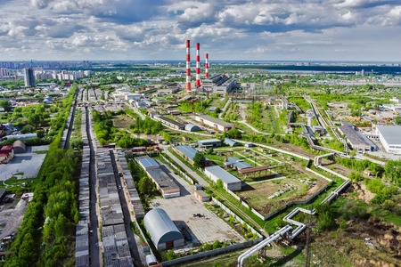 factory power generation: Aerial view on combined heat and power factory