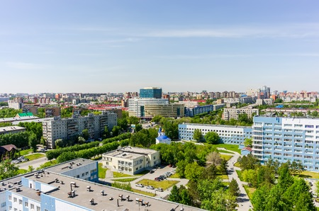 2 50: Tyumen, Russia - May 25, 2015: Bird eye view onto Tyumen oil and gas university, 50 Let Oktyabrya street, Church in honor of Mother of God Healer icon and regional clinical hospital No. 2