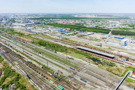 industrial district: Tyumen, Russia - May 25, 2015: Aerial view on Voynovka railway node. Industrial district Stock Photo