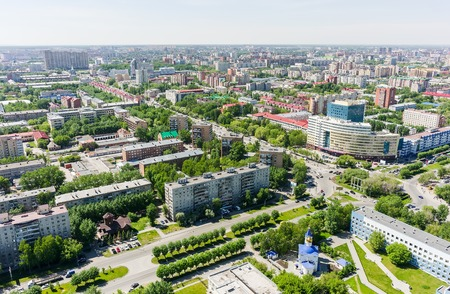 2 50: Tyumen Russia May 25 2015: Bird eye view onto Tyumen oil and gas university 50 Let Oktyabrya street Church in honor of Mother of God quotHealerquot icon and regional clinical hospital No. 2