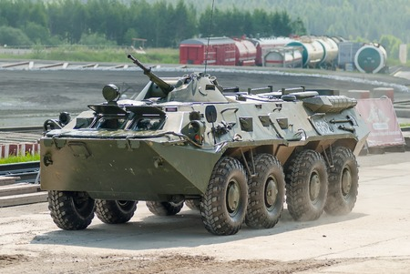 armoured: Nizhniy Tagil, Russia - July 12. 2008: BTR-82A armoured personnel carrier moves on shooting demonstration range