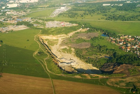 dragline: Aerial view onto mineral open pit mine