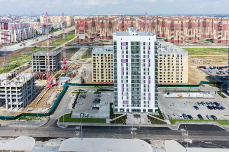 Tyumen, Russia - July 17, 2015: Aerial view onto residential district Suhodolye on Fedyuninskogo street Stock Photo