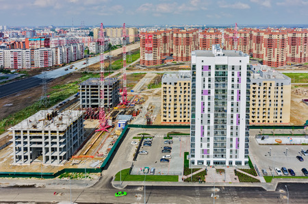 housing lot: Tyumen, Russia - July 17, 2015: Aerial view onto residential district Suhodolye on Fedyuninskogo street Editorial