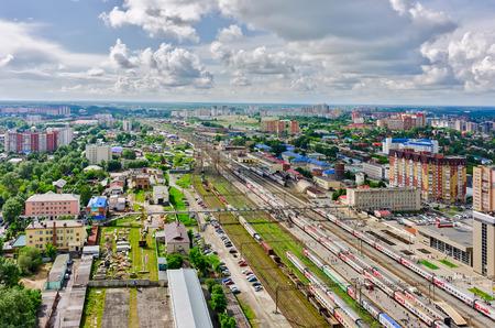 industrial district: Tyumen, Russia - June 8, 2015: Aerial view on Tyumen railway node. Industrial district