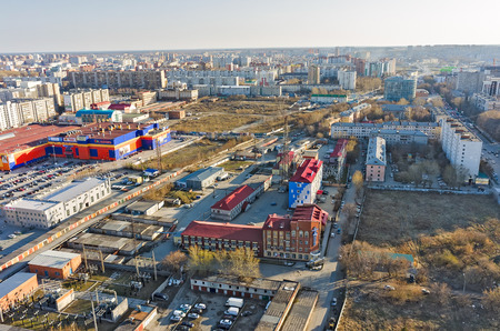 noncompliance: Tyumen, Russia - April 28, 2015: Aerial view on territory of Tyumen distributive networks and energy company