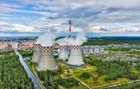 Tyumen, Russia - August 7, 2015: Aerial view on City heating and power plant number two Editorial