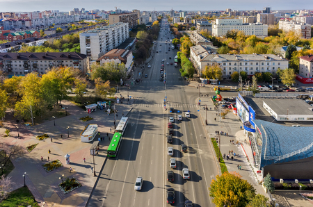 republics: Tyumen, Russia - September 17, 2015: Aerial view onto Republics street intersection with Holodilnaya