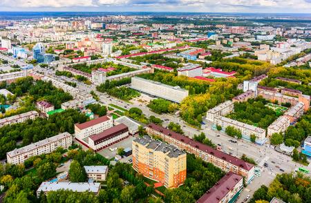 vostok: Aerial view on residential districts, Vostok hotel and Respubliki street Stock Photo