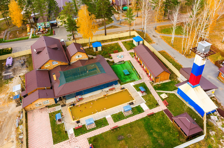 therapy geothermal: Tyumen, Russia - September 29, 2015: Sosnoviy Bor sanatorium. Spa procedures in indoor and outdoor pools with hot mineral water
