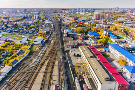 node: Tyumen, Russia - May 25, 2015: Aerial view on Voynovka railway node. Industrial district Editorial