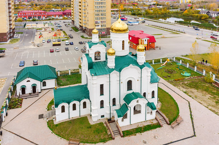 seraphim: Tyumen, Russia - September 26, 2015: Aerial view onto temple in honor of the Reverend Seraphim of Sarov. Tura residential district