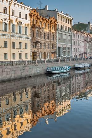 historical buildings: Historical buildings on channel of Griboedov in Saint-Petersburg, Spring, Russia Stock Photo
