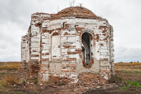 roofless: Ruins of church in Romanovo village after destruction in 30 years of XX century. Tyumen region Stock Photo
