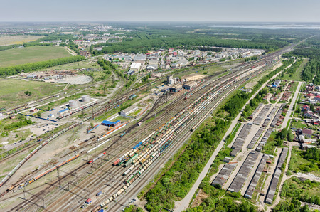 industrial district: Tyumen, Russia - May 25, 2015: Aerial view on Voynovka railway node. Industrial district Editorial