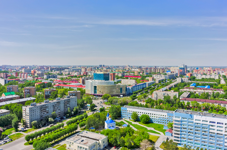traditional healer: Tyumen, Russia - May 25, 2015: Bird eye view onto Tyumen oil and gas university, 50 Let Oktyabrya street, Church in honor of Healer Mother of God icon and regional clinical hospital No. 2 Editorial