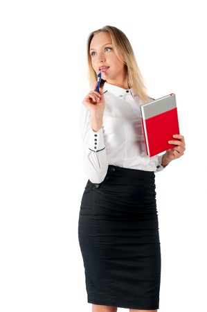 sales manager: Portrait of modern business woman with copy space. Happy smiling business woman. Business woman with holding diary or notebook. Insurance agent or sales manager