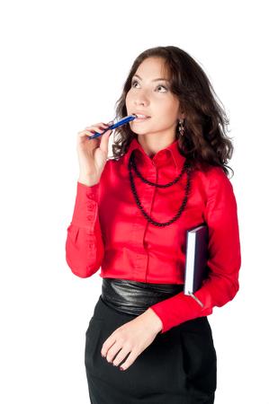 secretaria sexy: Amistoso escrito confianza empresaria en su organizador aislado en el fondo blanco.