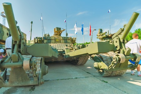 clearer: Nizhniy Tagil, Russia - July 12. 2008:  Visitors examine military equipment on exhibition range. BMR-3M. Armoured deminer to demine pathways for column march. RAE-2008 exhibition Editorial
