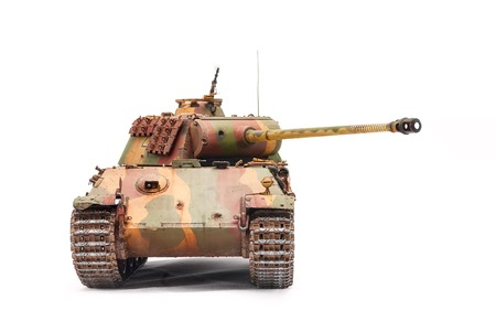 German tank Panther of World War II period over white background