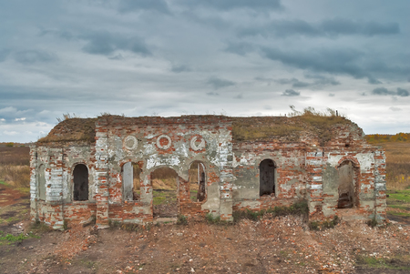 xx century: Ruins of church in Romanovo village after destruction in 30 years of XX century. Tyumen region Stock Photo