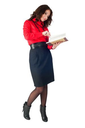 sexy secretary: Amistoso confianza empresaria escribiendo en su organizador. Aislado sobre fondo blanco.