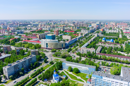 2 50: Tyumen, Russia - May 25, 2015: Bird eye view onto Tyumen oil and gas university, 50 Let Oktyabrya street, Church in honor of Healer Mother of God icon and regional clinical hospital No. 2 Stock Photo
