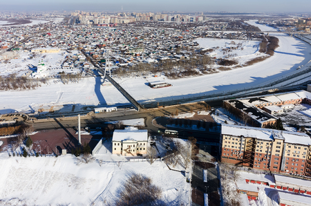 onto: Aerial view onto pesestrian Lovers Bridge during spring period