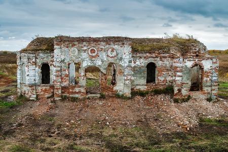 Ruins of church in Romanovo village after destruction in 30 years of XX century. Tyumen region Stock Photo