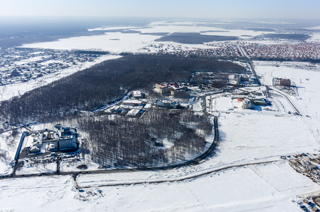 radiological: Tyumen, Russia - March 10, 2016: Aerial view onto medical town in Patrushevo: bureau of forensic medical examination, radiological center, center of neurosurgery, regional clinical hospital